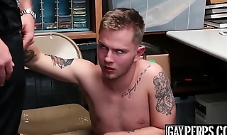 Inked gentleman of the road cums hard while monster fucked raw and deep