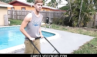 Bear Stepdad With an increment of Twink Son Fuck Outside Sign in Yard Work