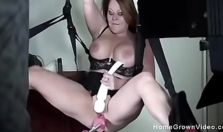 Chubby big-busted milf fucked by sex machine