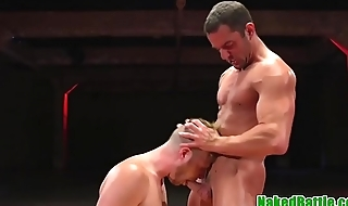 Tattooed wrestling smile radiantly gets cocksucked